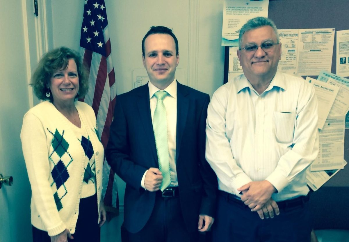 Municipal Clerk Diane T. Testa, Yavuz Aydin Director of TCC Bergen, Fairview Mayor Vincent Belluci.